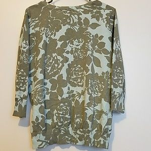 Covington Sweaters - Floral 3/4 sleeve cardigan sweater